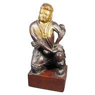 Antique Oriental Carved Wood Figure