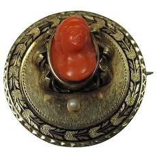 Antique 14K Gold and Coral Pendant/Brooch
