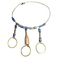 Old Tribal Bead Brass Necklace