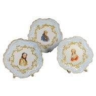 Trio  of Limoges Portrait Plates