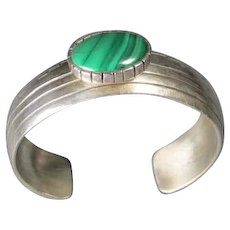 Old Native American Style Cuff Sterling/Malachite