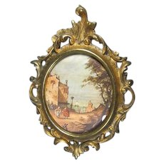 Old Print with Rocco Gilt Brass Frame