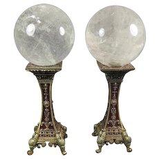 Pair of Quartz Spheres on Metal Stands
