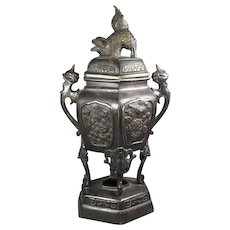 Japanese Bronze Vase Foo Finial