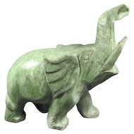 Green Hard-Stone Carved Elephant.