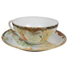 Exquisite Antique Japanese Eggshell Porcelain Cup Saucer