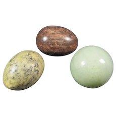 Trio of Hard  Stone Eggs