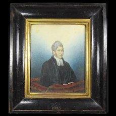 Antique  Watercolor Portrait of A Gentleman