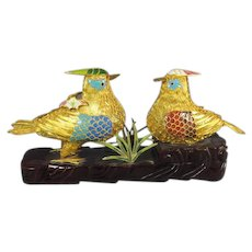 Pair Gilt Metal Birds on Stand