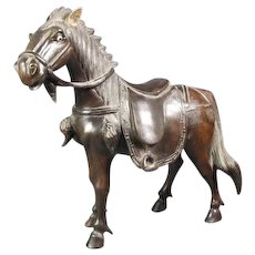 Vintage Chinese Composite { Resin]Horse 8 inches long