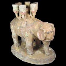 Large Terra Cotta Elephant Candelabra
