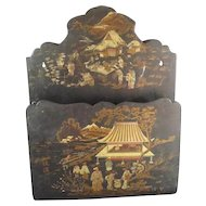 Antique Chinoiserie Papier- Mache Wall Pocket