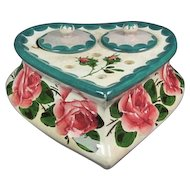 Old Double Ink Well with Roses by Wemyss