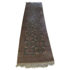 Old Wool  Afghan Turkoman Hall Runner 9 feet long