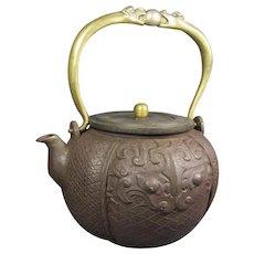 Cast Iron and Gilt Bronze Chinese Dragon Tea Pot