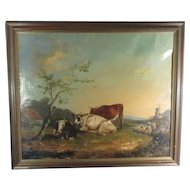 Pastoral 1800's Oil of Sheep and Cows with a Windmill in the distance