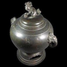 Antique Japanese Shi-Shi Bronze Censer