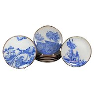 Set of Eight Antique Meiji Period Dinner Plates from Japan