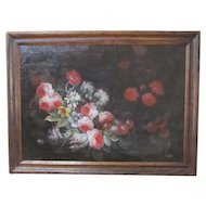 17th/18th Century Floral Oil Painting on Canvas
