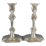 Pr Tall Georgian Style Silver Plated Candlesticks