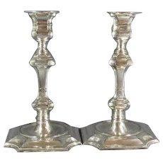 Pr Tall Georgian Style Silver Plated Candlesticks