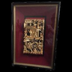 Framed Chinese Carved Gilt Panel