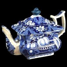 19th Century Blue Staffordshire Teapot