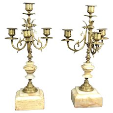 Old Pair Gilt Brass Candelabra
