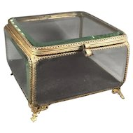 Antique  Jewelry Box/Chest Beveled Glass