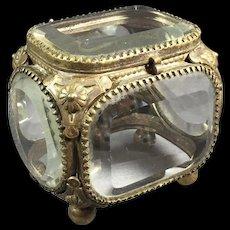 Miniature Bronze / Beveled Glass Jewelry Box/Casket