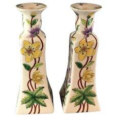 Pair Floral Porcelain Candlesticks