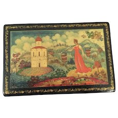 Old Russian Lacquered Hand Painted Box