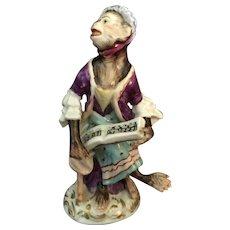 Porcelain Monkey Singer Figure on a Bench