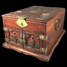 Antique Chinese Chest - Box with  Mirrored Lid