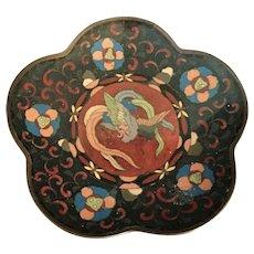 Antique Japanese Cloisonne Phoenix Dish