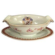 Antique Armorial Porcelain Gravy/Sauce Boat