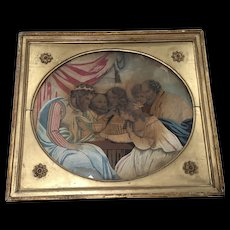 18th Century Needlework Water Color on Silk