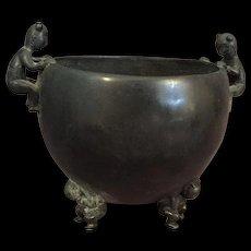 Antique Bronze Chinese Children Bowl