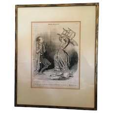 "Honore Daumier "" Conjugal Death "" lithograph"