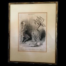 """Honore Daumier """" Conjugal Death """" lithograph"""
