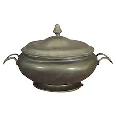 Antique English Pewter Covered  Serving Dish/Tureen