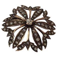Antique Starburst Diamond and Pearl Brooch
