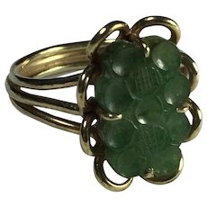 Green Jadeite 14K Gold Ring