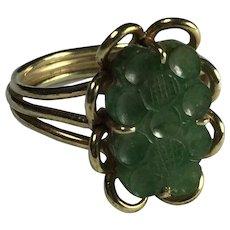 Green Jadeite 14K Gold Ring