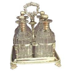 European Silver Plated  Four Bottle Tantalus