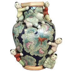 Tall Chinese Porcelain  Vase with Boys /Children