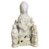 Antique Chinese Porcelain Guanyin with Attendants