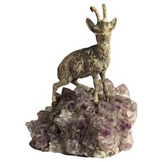 """Austrian / Viennese Cold Painted Bronze Goat / Ibex 3"""" T"""