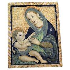 Antique Deruta Majolica Plaque of the Madonna and Child
