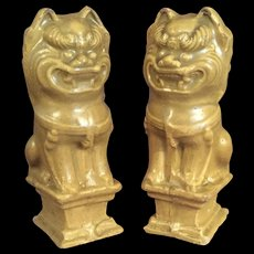 Antique Chinese Lions Yellow Glaze